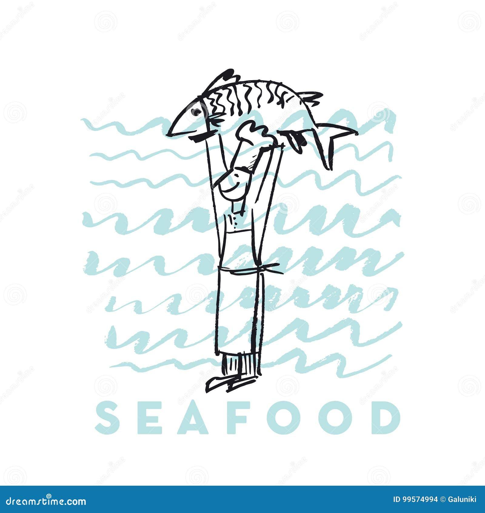 Owoce morza ryba i kucharz abstrakcjonistyczna ręka rysująca projektujemy elementy dla menu, plakat, zaproszenie