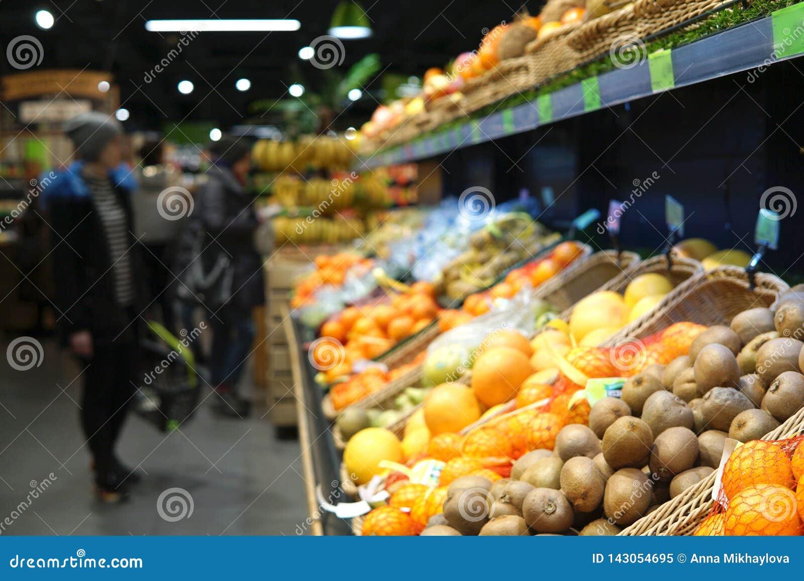 Owoce Zamazany wizerunek supermarket