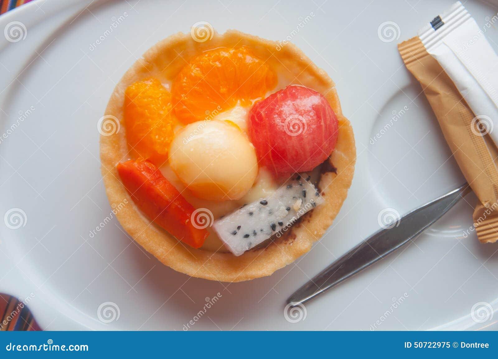 Owocowi tartlets - arbuz, kantalup, pomarańcze