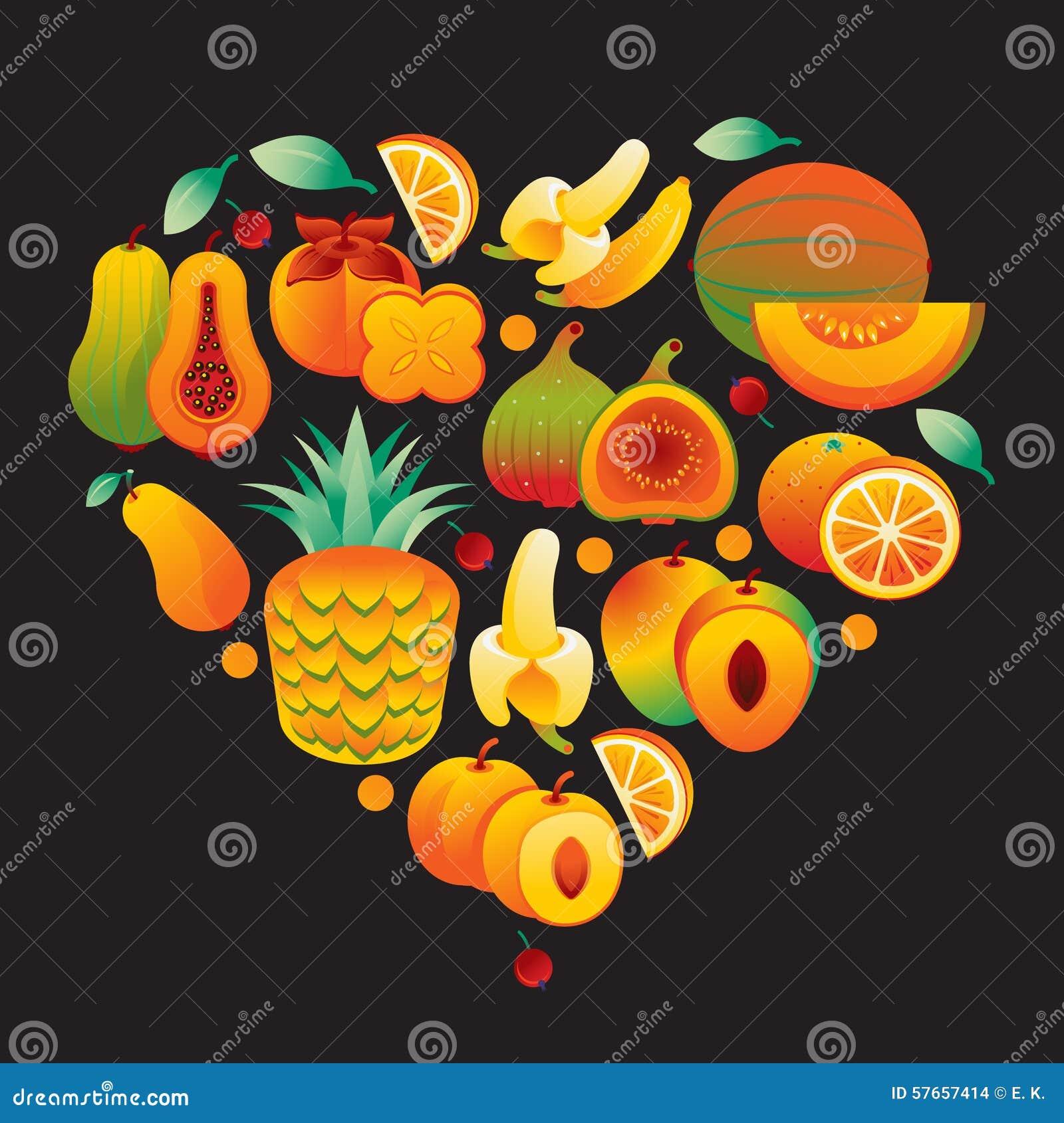 Owocowy Pomarańczowy serce