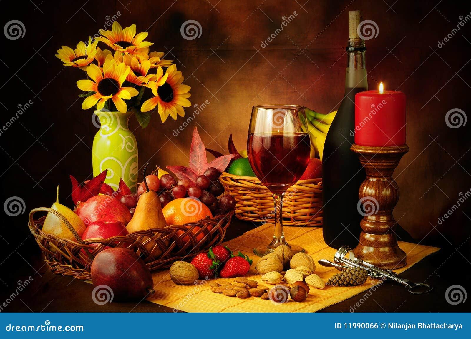 Owocowych życia dokrętek spokojny wino
