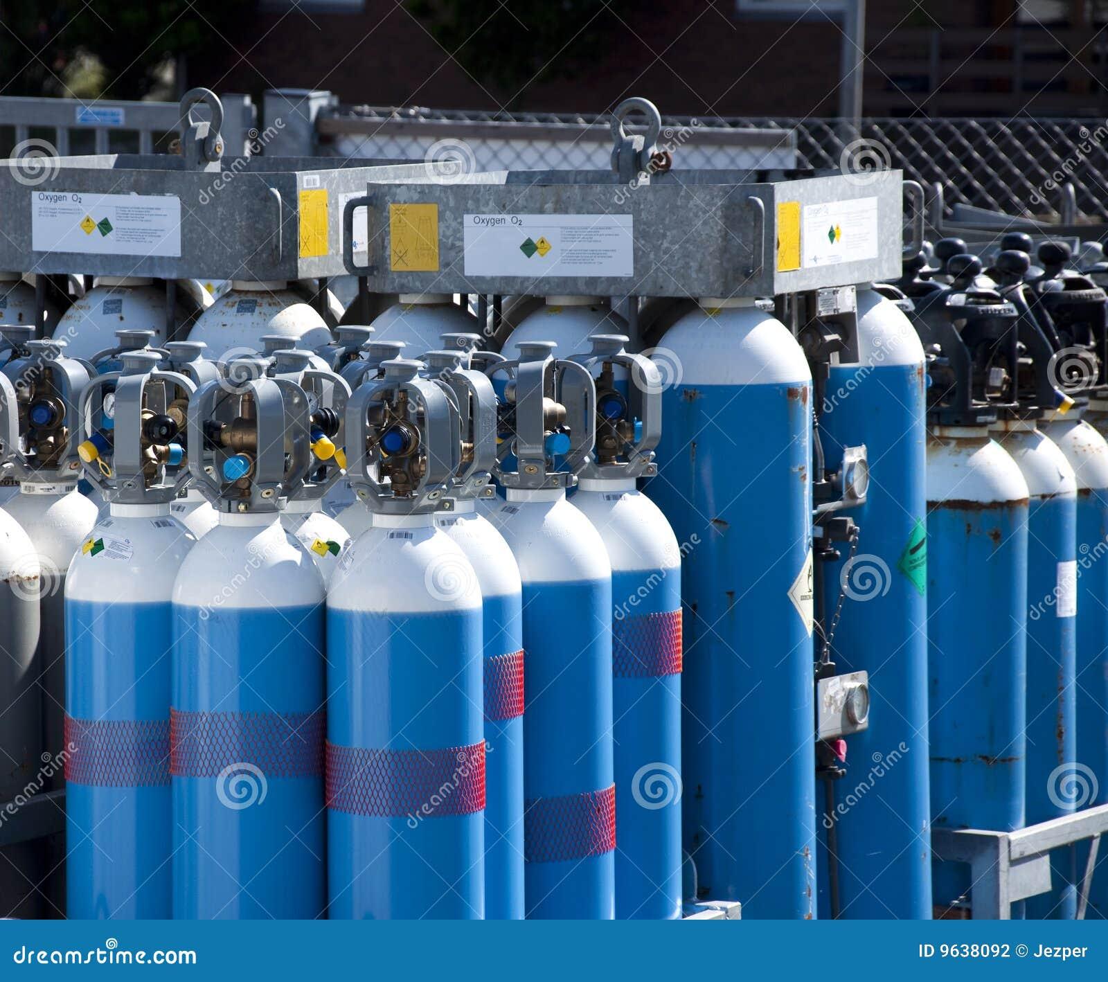 Oxígeno de las botellas de gas