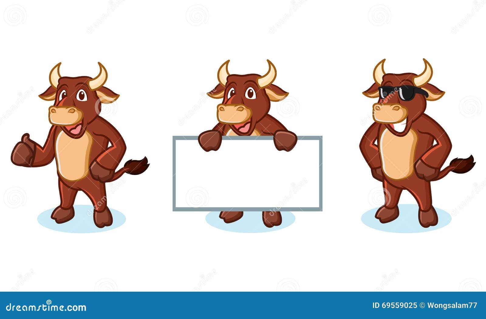 ox brown mascot happy stock vector illustration of mammal 69559025. Black Bedroom Furniture Sets. Home Design Ideas