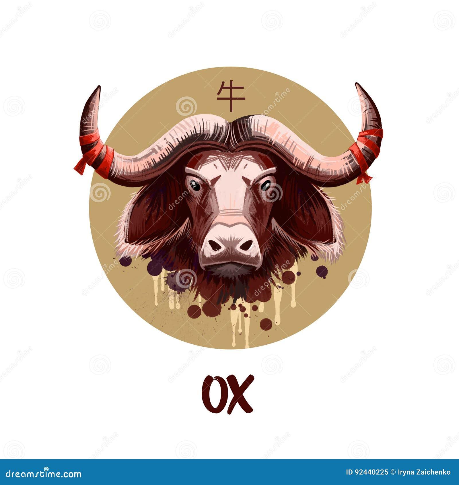Ox Chinese Horoscope Character Isolated On White Background  Symbol