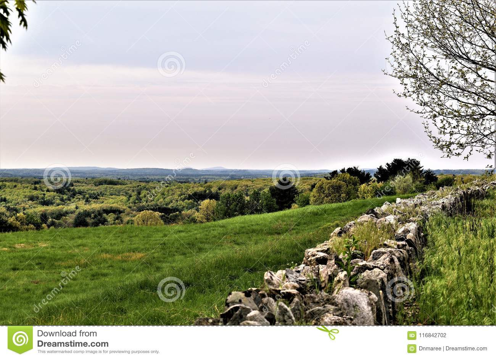 Oxbow全国Wildlfe避难所风景看法从哈佛采取的,马萨诸塞,美国