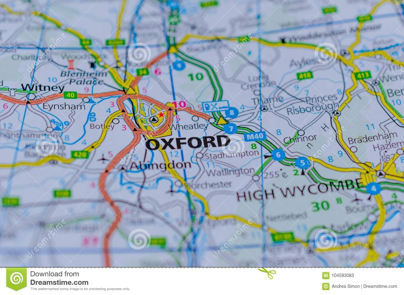 Oxford On Map Stock Image Image Of Department England 104593083