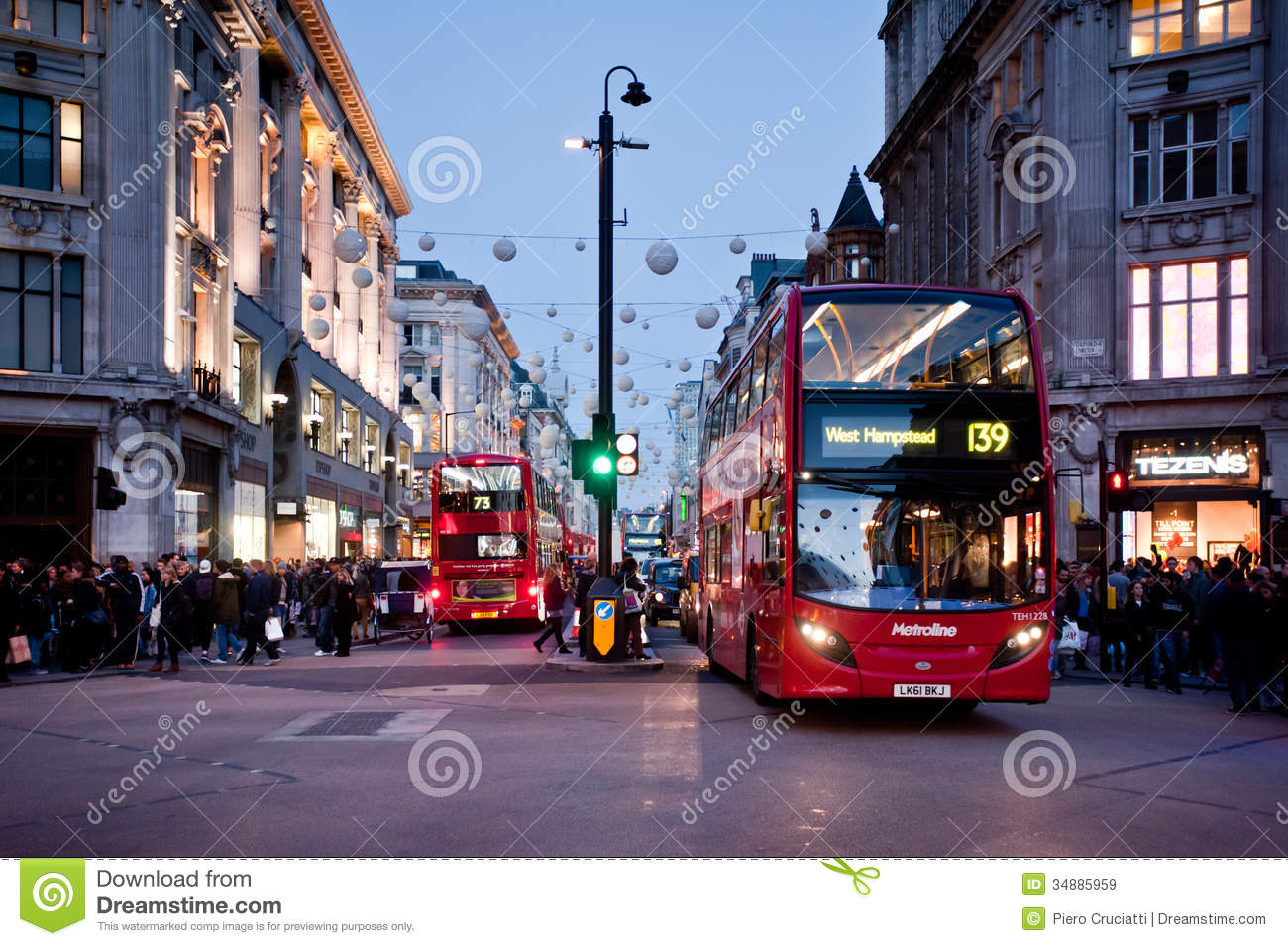 Oxford Street In London At Sunset Editorial Stock Image