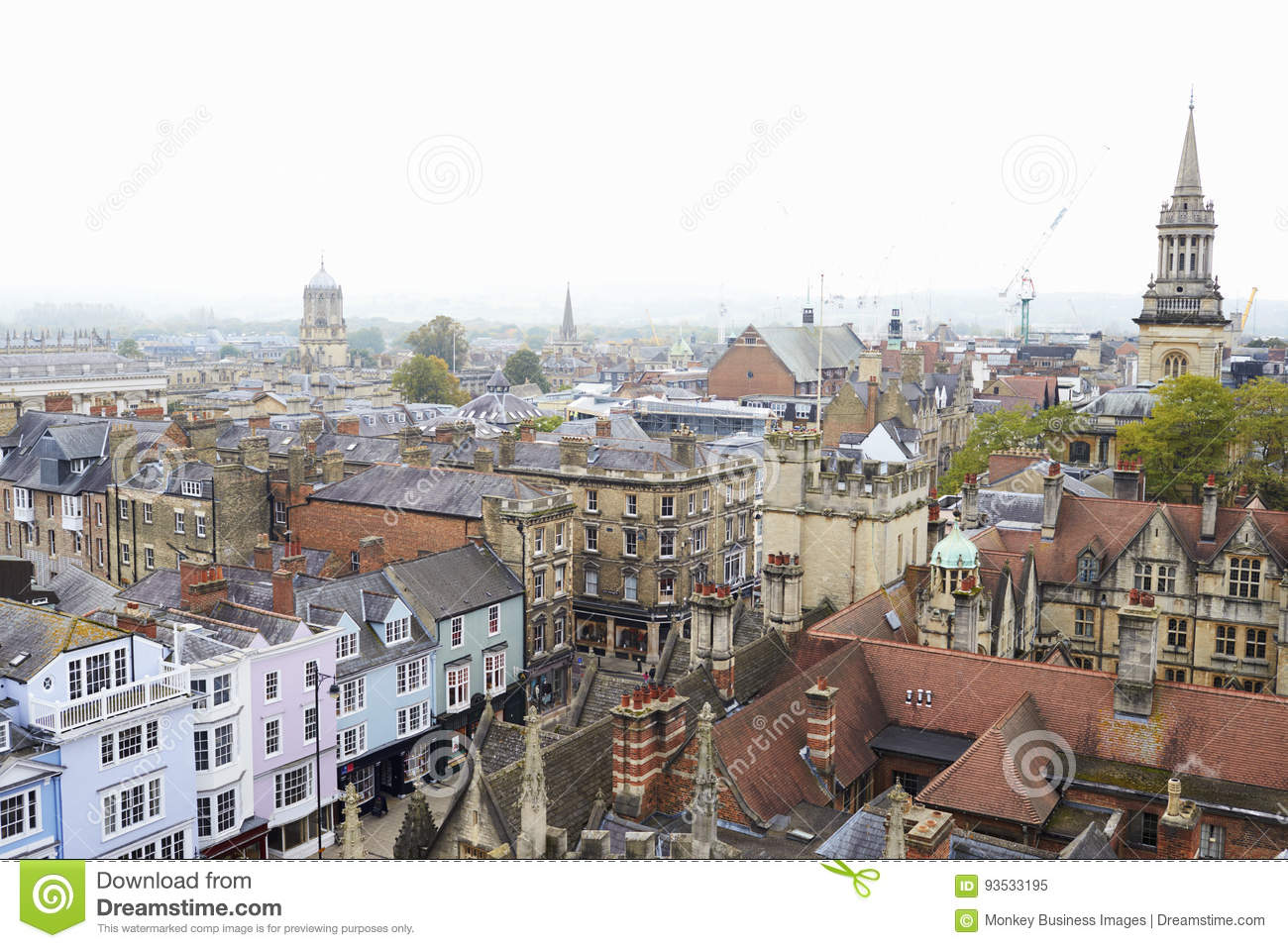 OXFORD/ UK- OCTOBER 26 2016: Aerial View Of Oxford City Showing College Buildings And Shops