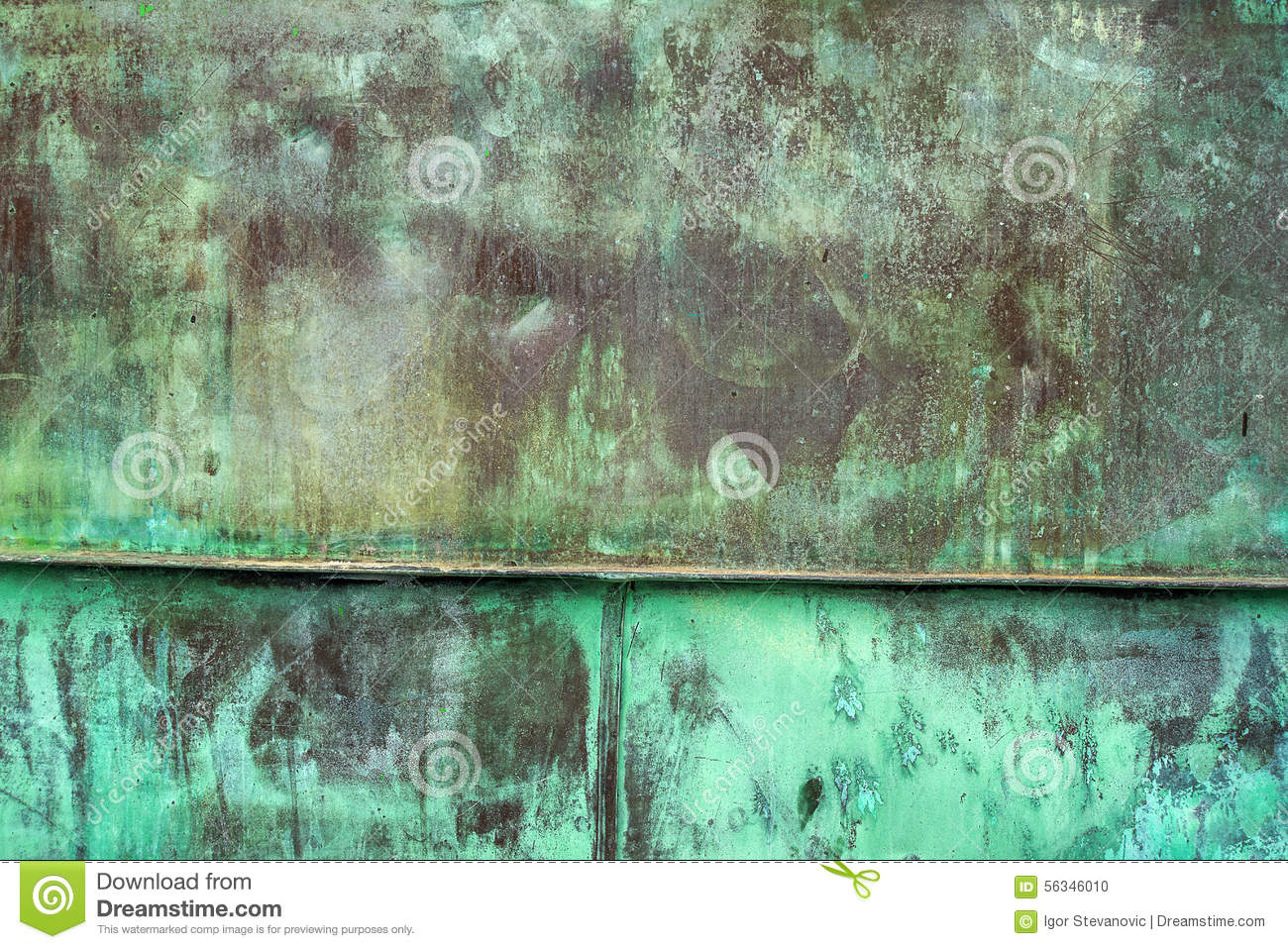 Download Oxidized Green Copper Plate Texture As Background Stock Photo