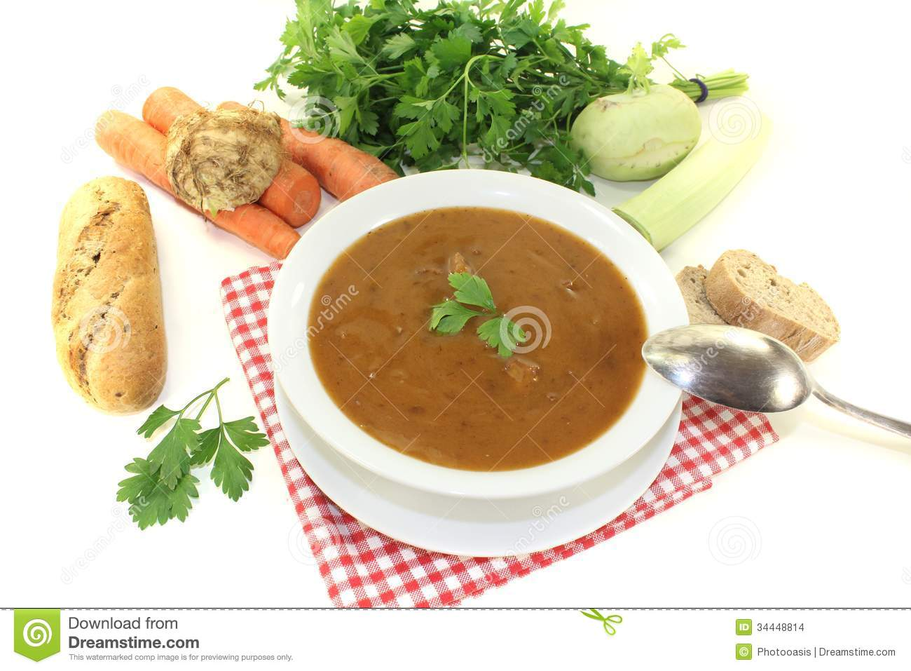 Oxtail Soup With Parsley Stock Images - Image: 34448814