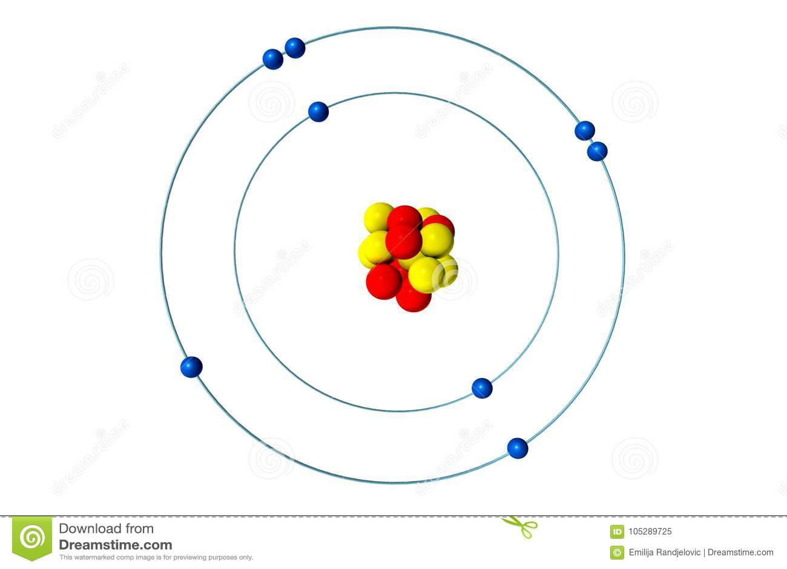 Oxygen Atom With Proton  Neutron And Electron  3d Bohr