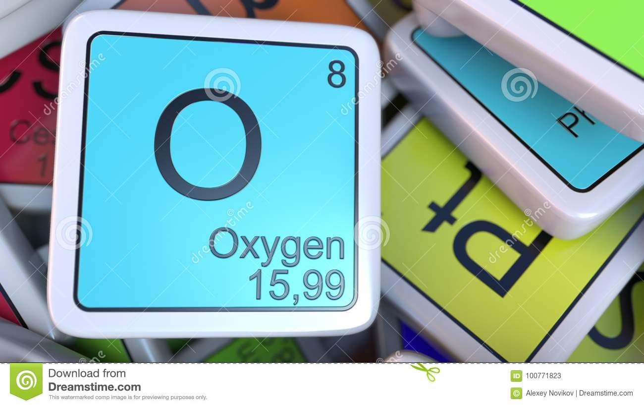 Oxygen block on the pile of periodic table of the chemical oxygen block on the pile of periodic table of the chemical elements blocks chemistry related 3d rendering biocorpaavc