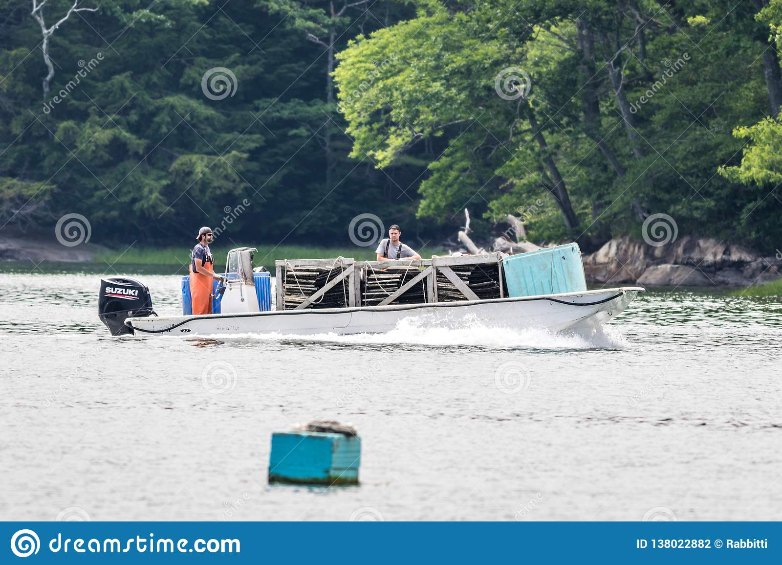 Damariscotta, Maine, USA - July 2, 2018: Oyster Farming In