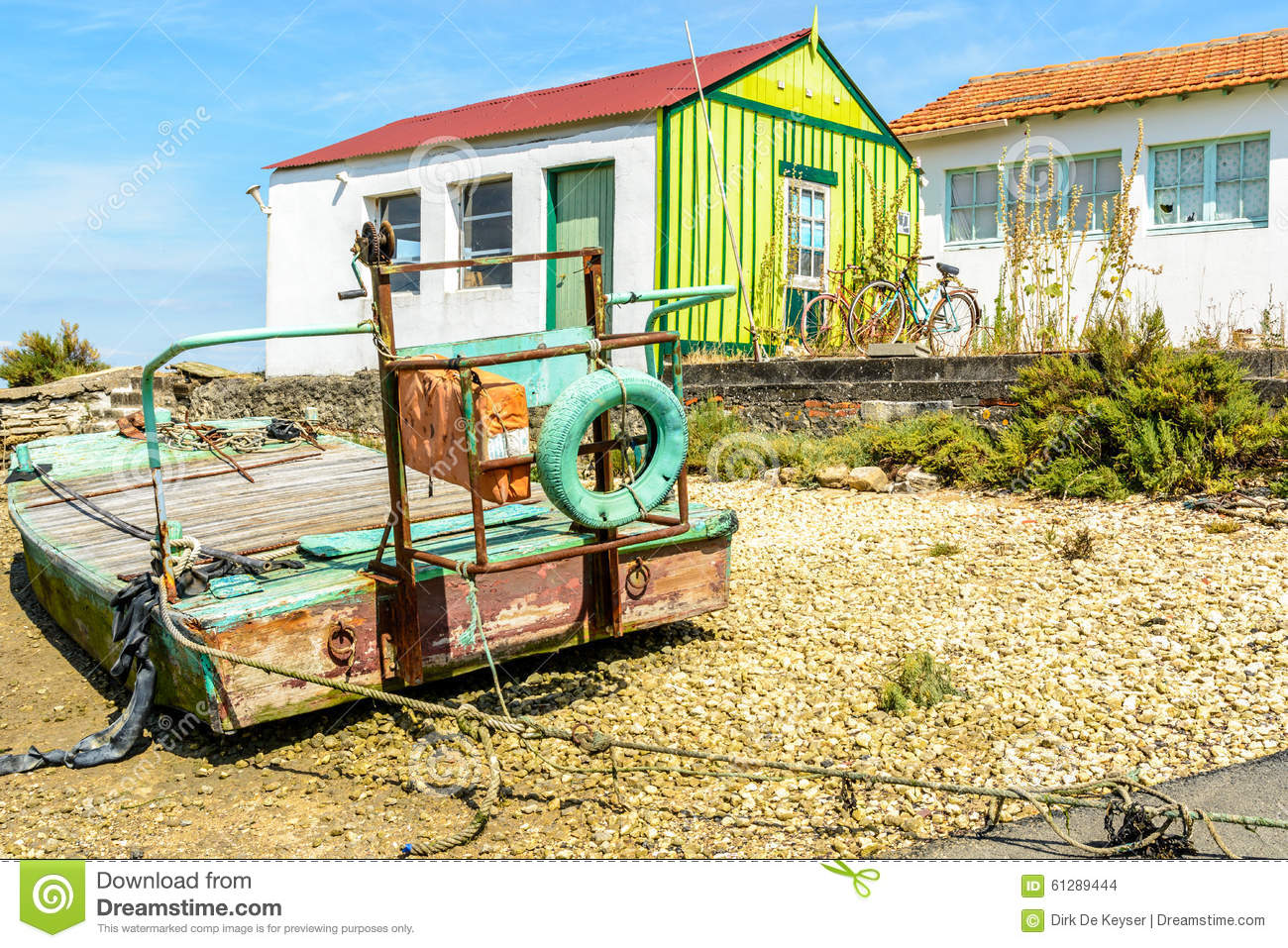 Oyster hut and boat on Oleron island, France