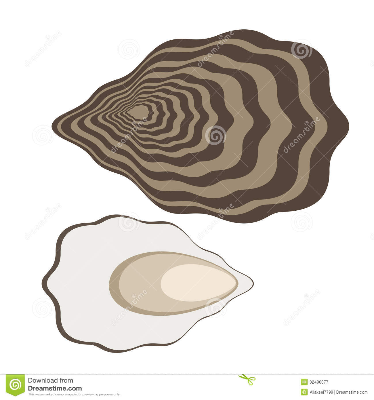 Oyster. Isolated objects on white background. Vector illustration (EPS ... Open Oyster Shell With Pearl