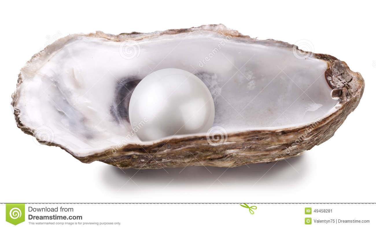 Open oyster with pearl...