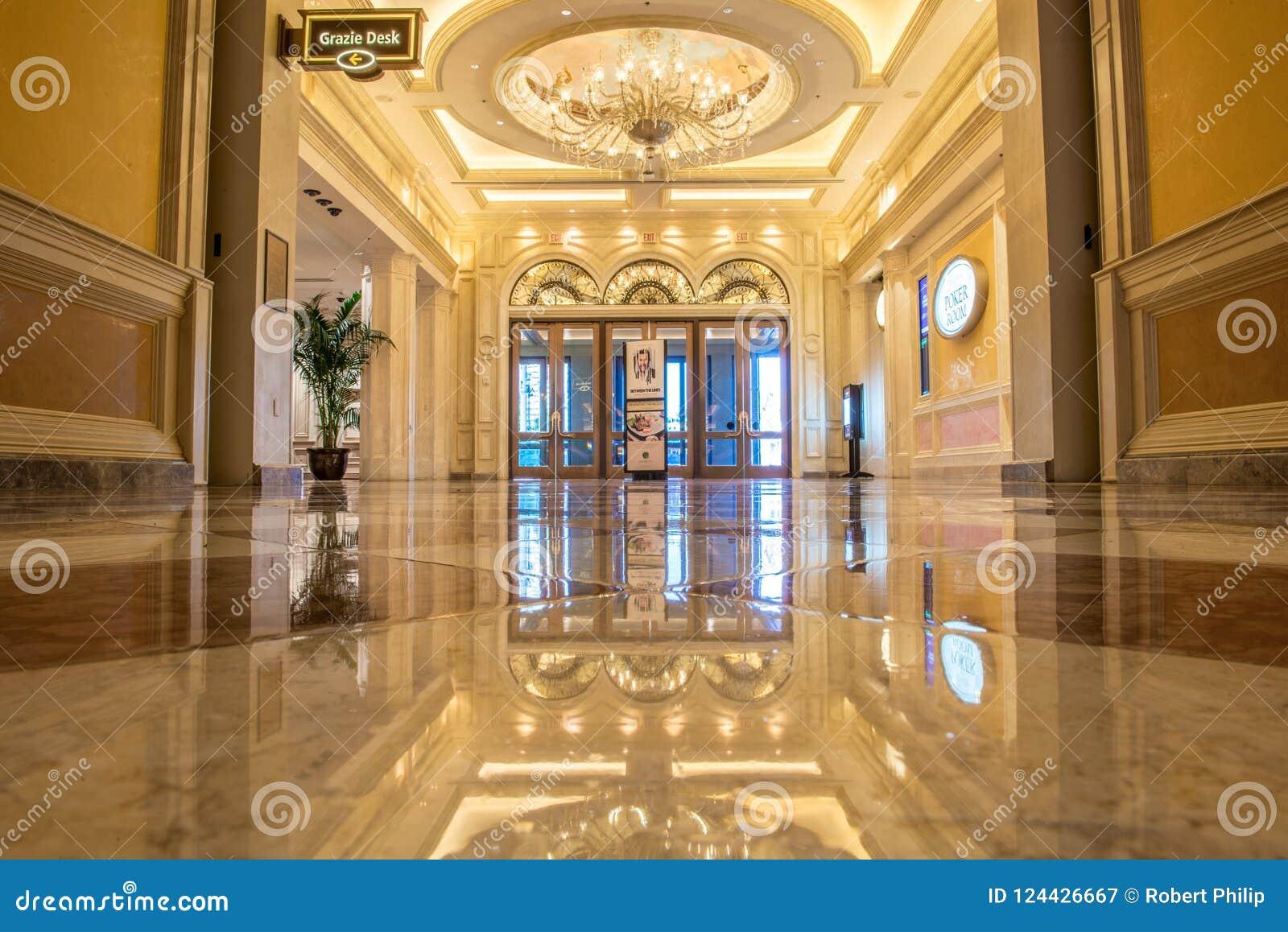 Ozdobny marmurowy foyer Wenecki kasyno i hotel