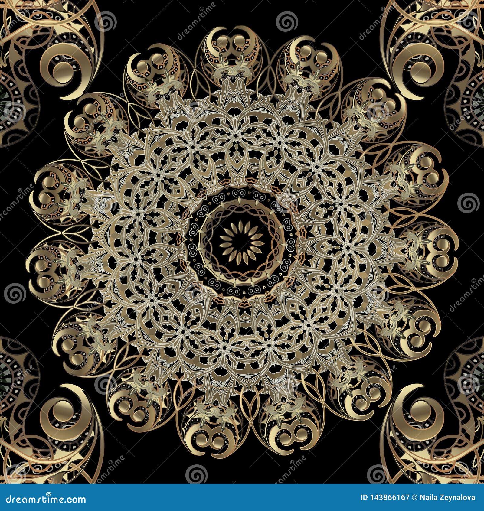 Ozdobny piękny złocisty arabeskowy wektorowy bezszwowy wzór Elegancja języka arabskiego stylu round koronki kwiecisty mandala Orn