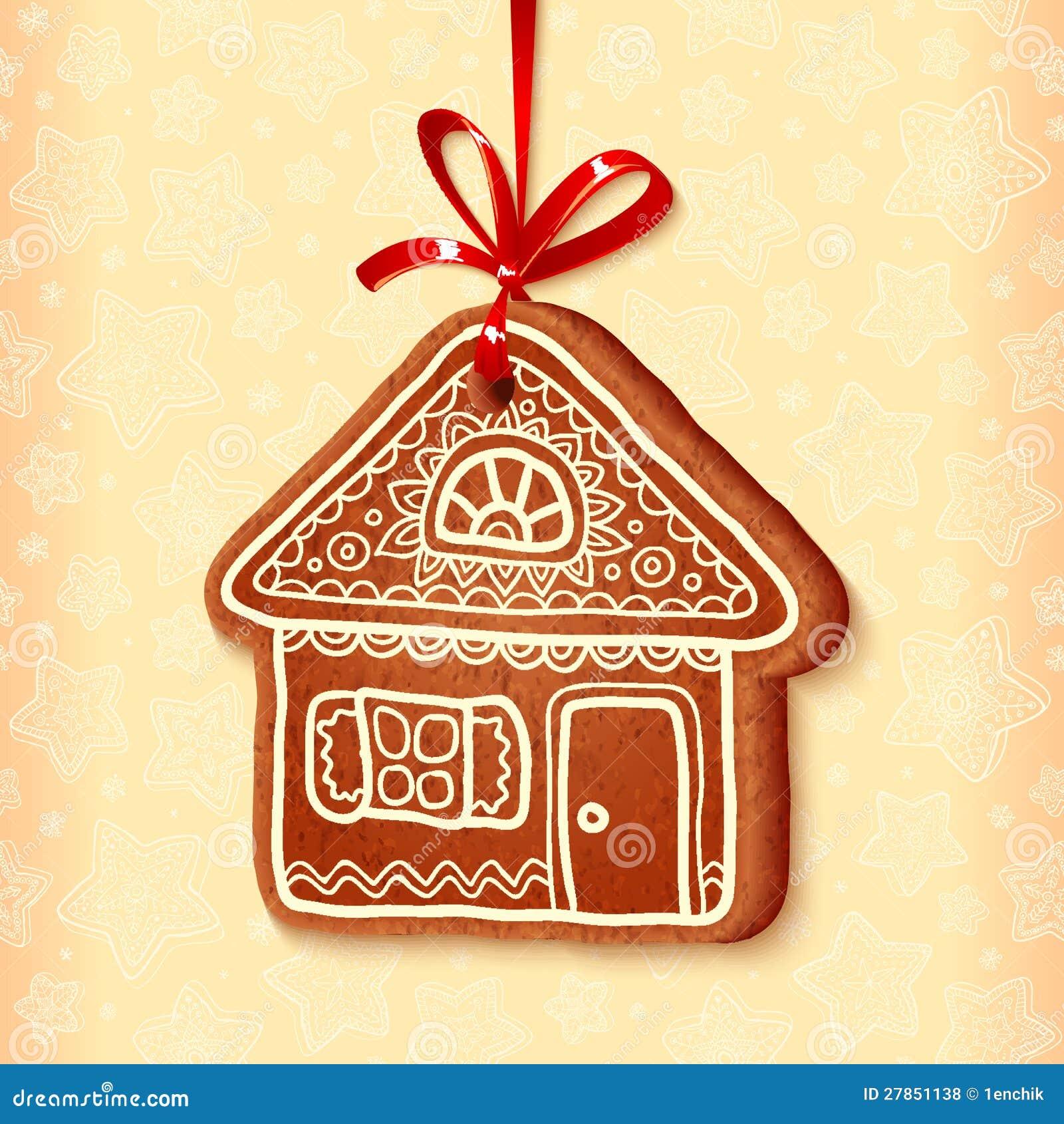 Ozdobny wektorowy tradycyjny bożych narodzeń cukierki dom