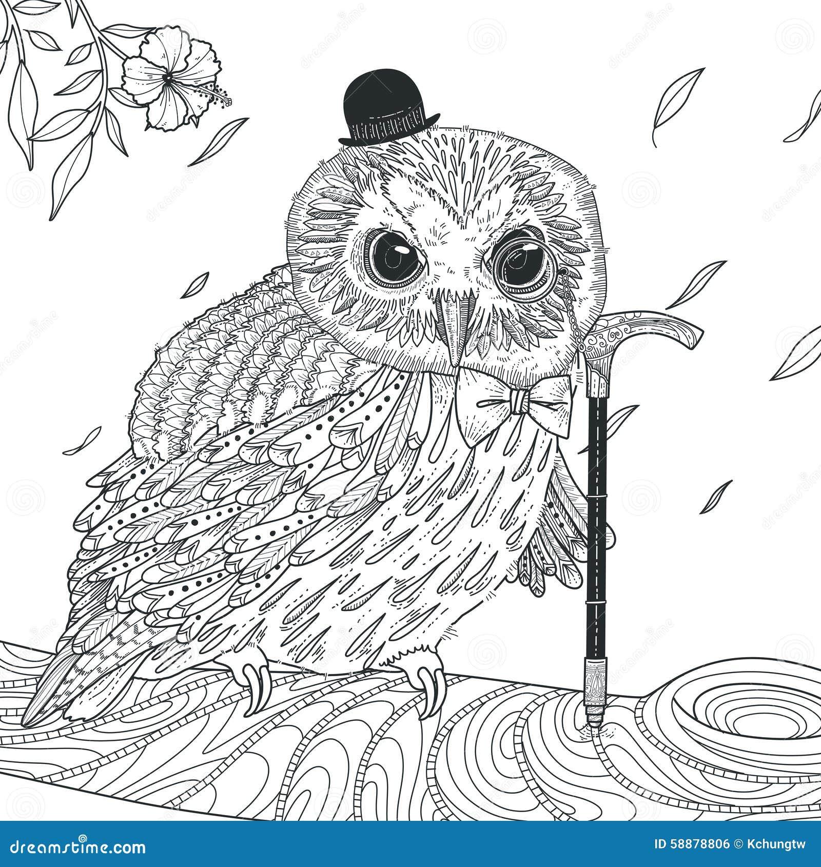 Página Adorable Del Colorante Del Búho Ilustración del Vector ...