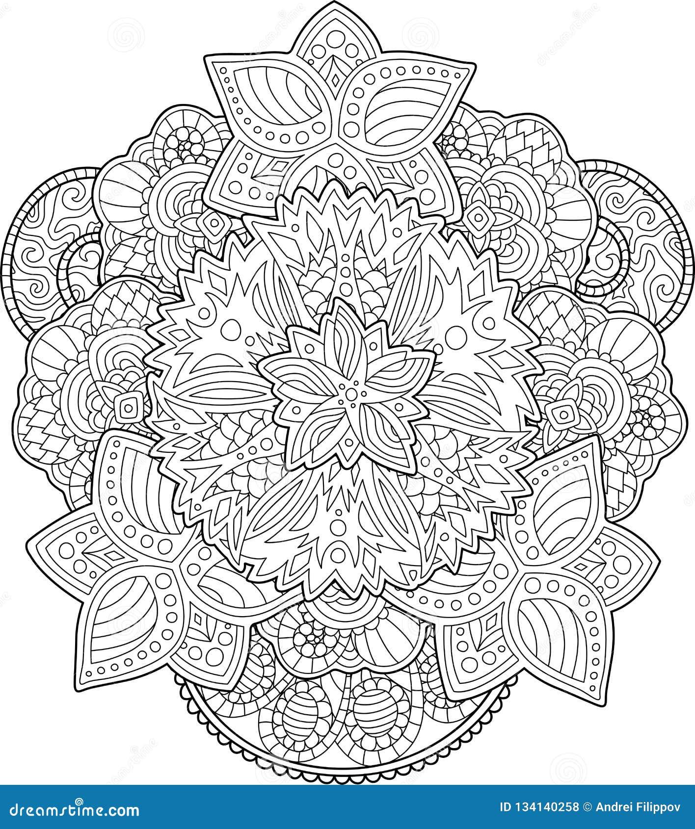 Página Adulta Del Libro De Colorear Con Las Flores Hermosas