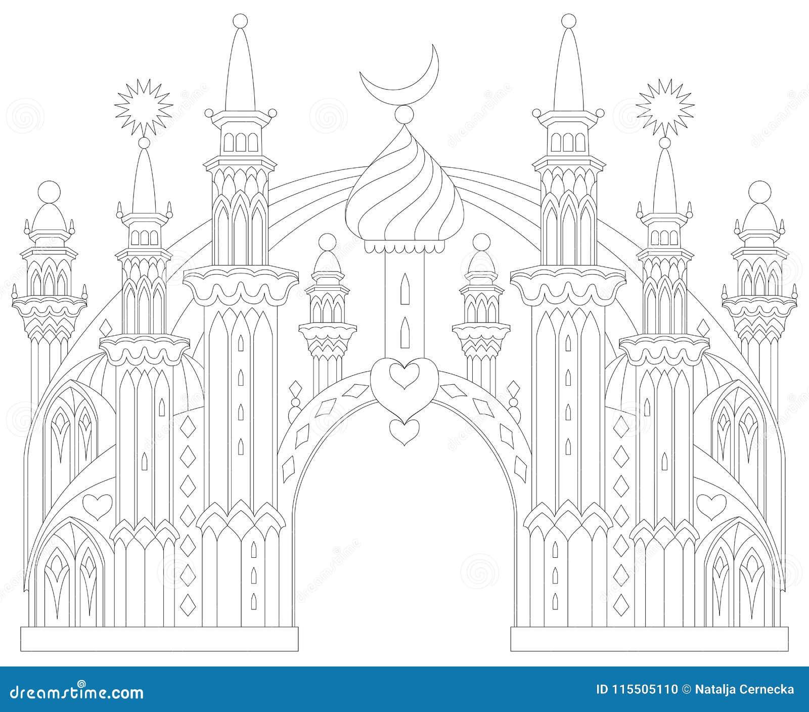 Página Blanco Y Negro Para Colorear Castillo Del Este Fantástico De ...