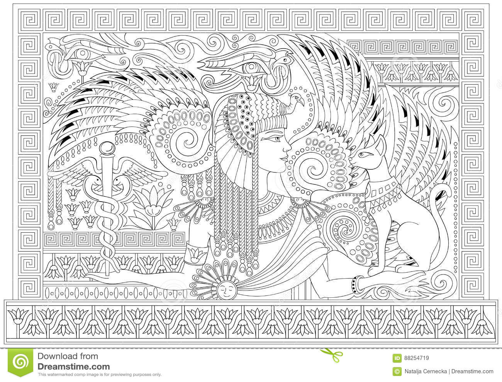 Página Blanco Y Negro Para Colorear Con La Reina Egipcia Entre Los ...