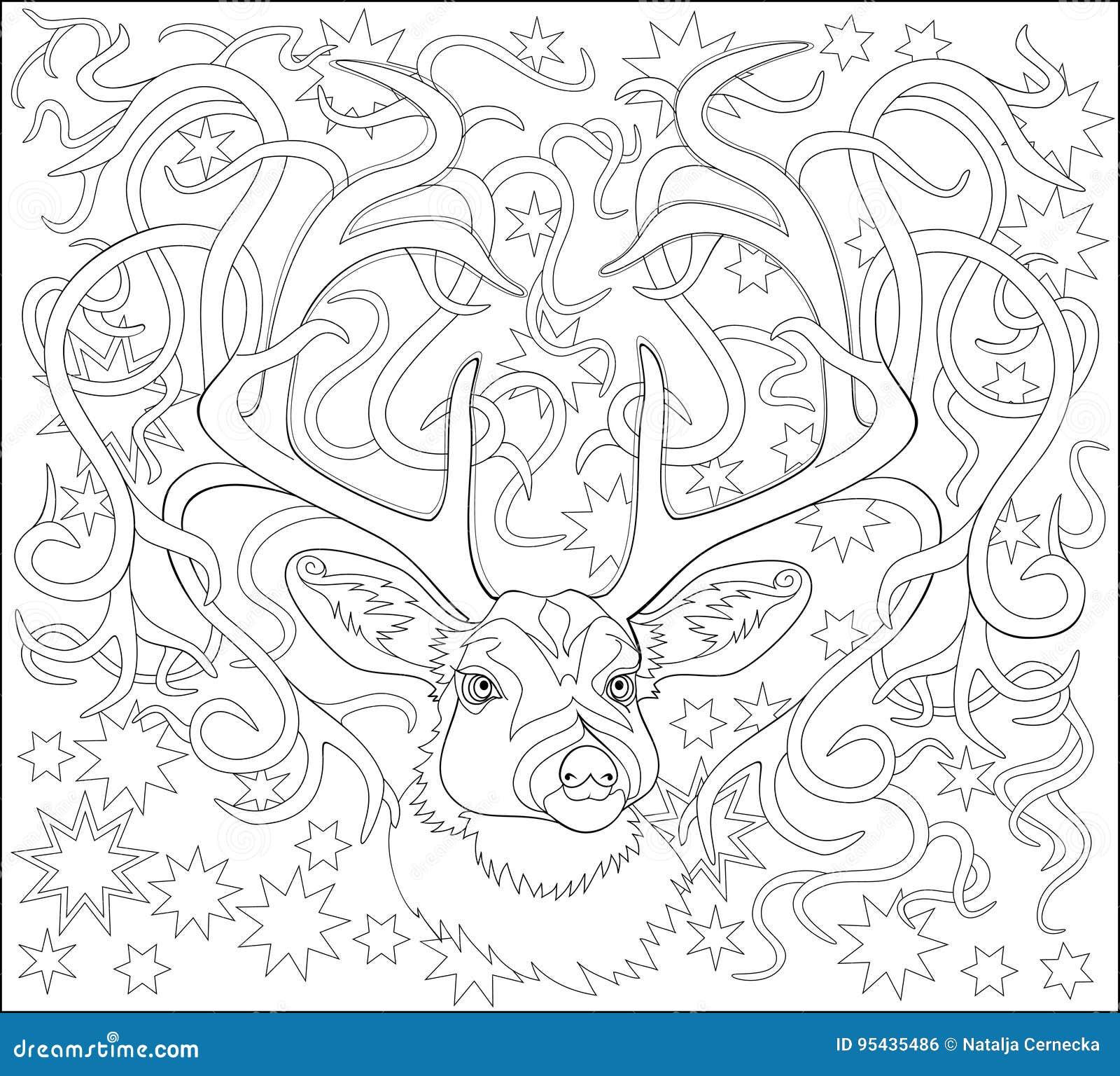Página Blanco Y Negro Para Colorear Dibujo De La Fantasía De Ciervos ...