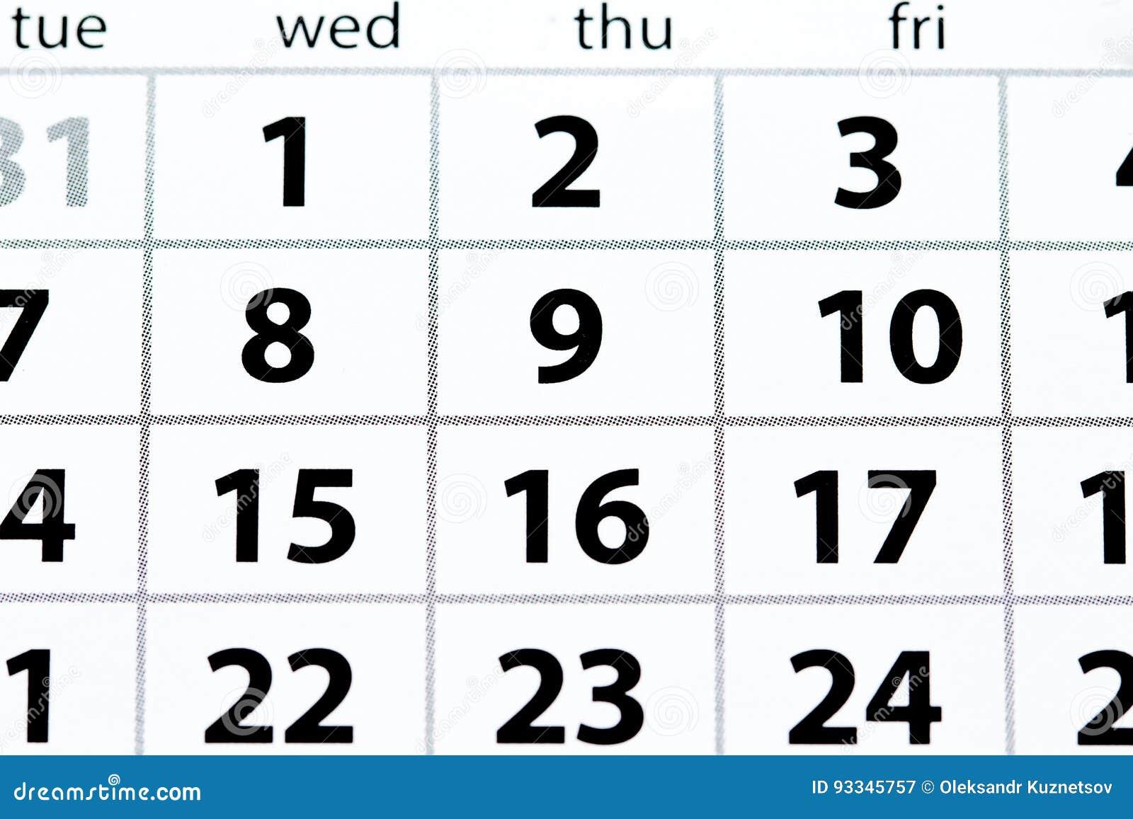 Página branca do calendário com opinião superior das datas