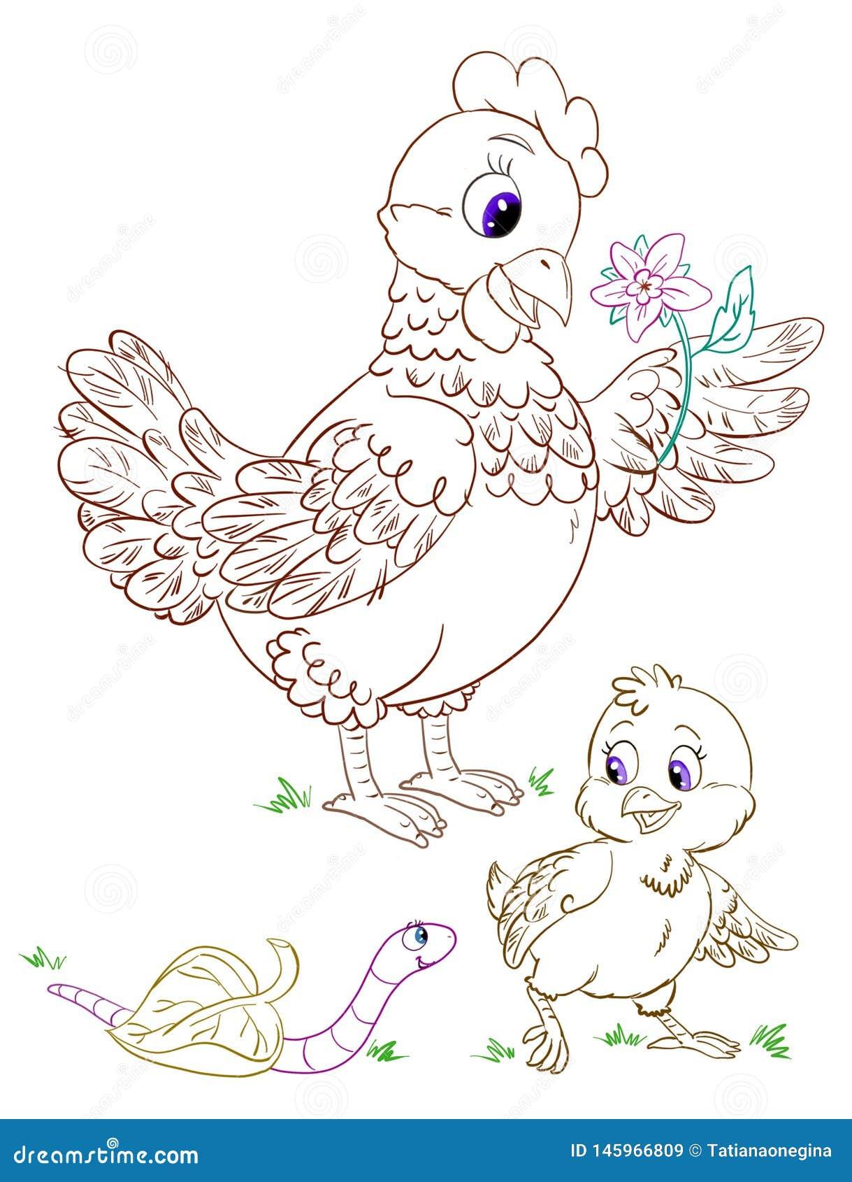 Pagina Colorindo Dos Desenhos Animados Com Esboco Da Cor Da