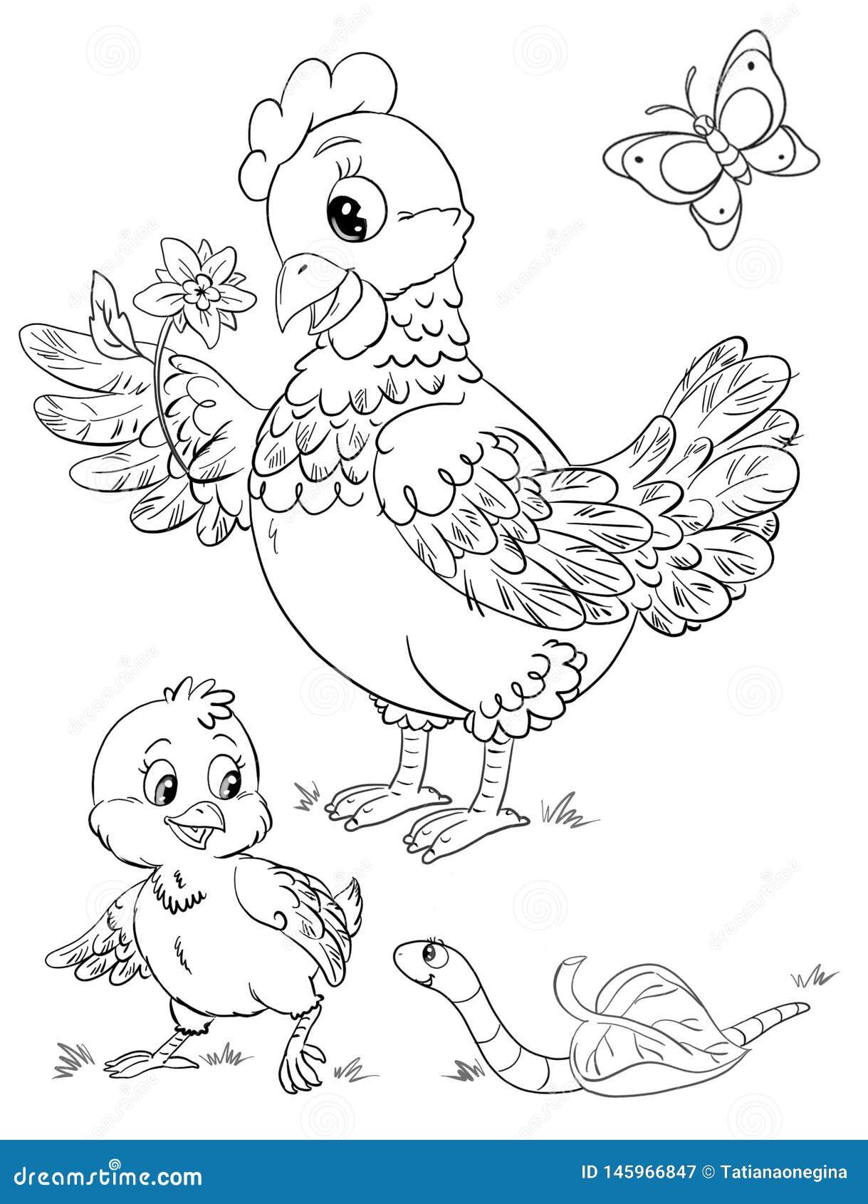 Pagina Colorindo Dos Desenhos Animados Da Galinha Com Flor Da