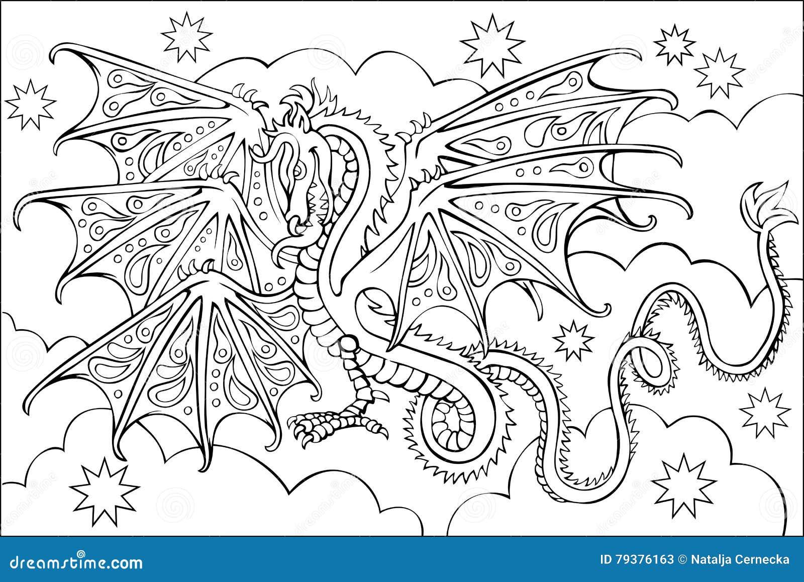 Página Com O Desenho Preto E Branco Do Dragão Para Colorir
