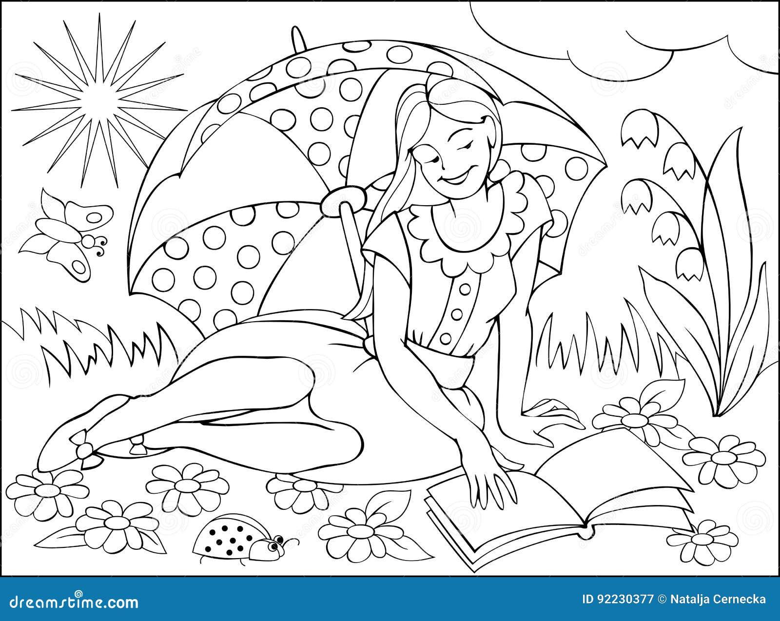Pagina Com O Desenho Preto E Branco Para Colorir Ilustracao Da