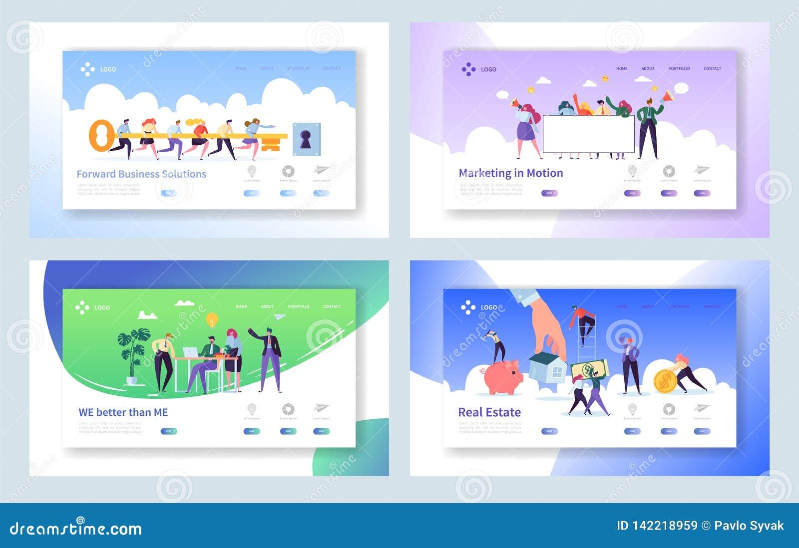 Página creativa del aterrizaje del concepto de la idea del trabajo en equipo Hombres de negocios del carácter que hace el sistema