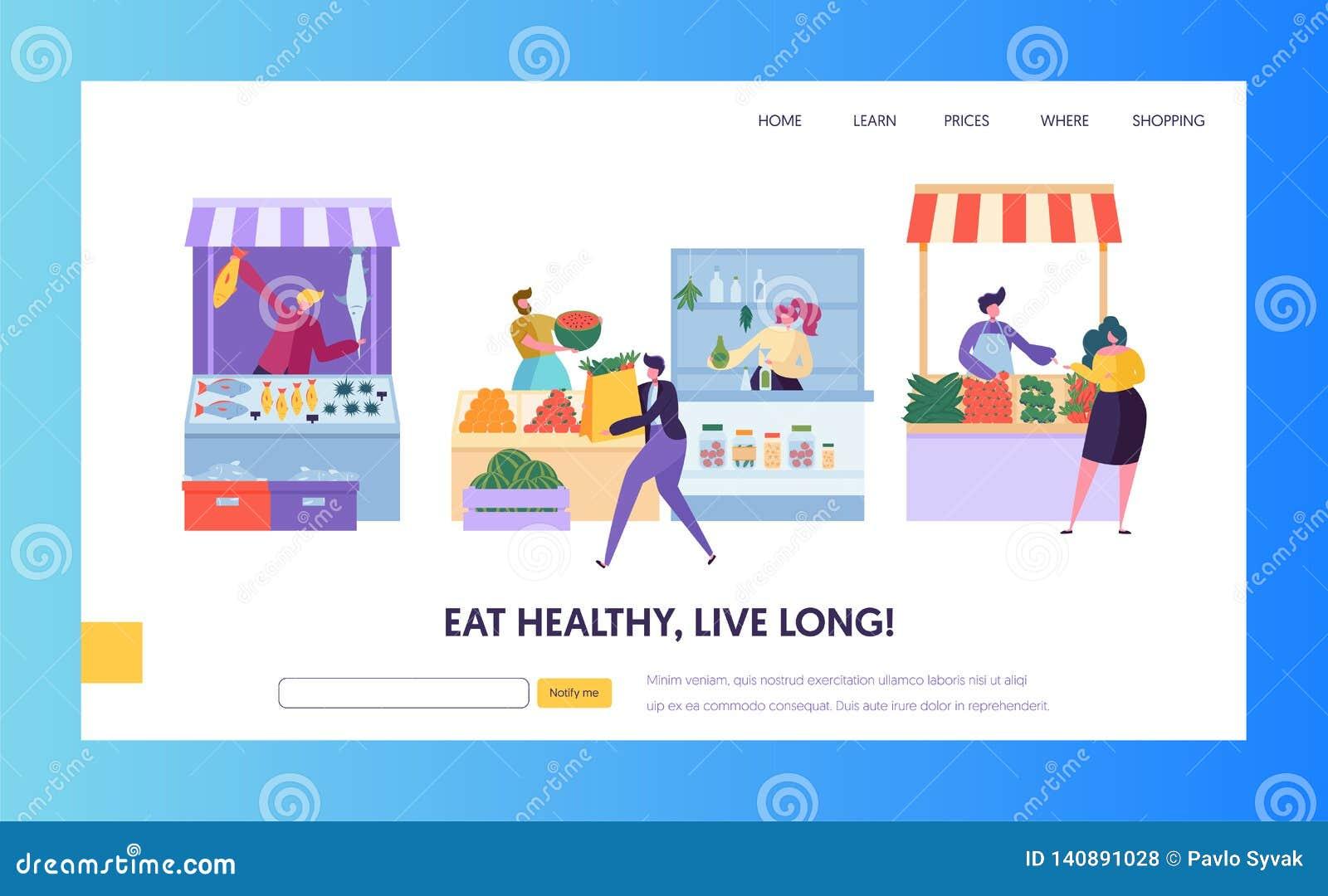 Página da aterrissagem de Organic Market Concept do fazendeiro dos alimentos frescos O caráter do cliente do homem escolhe o Web
