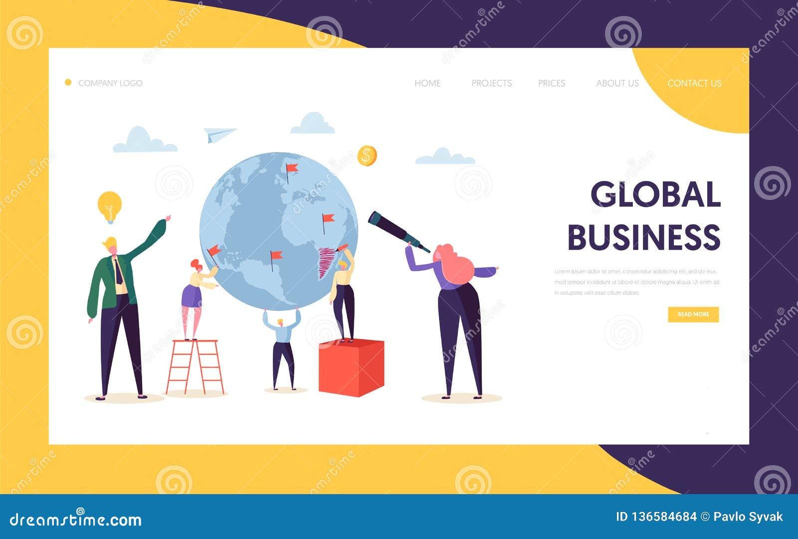 Página da aterrissagem do caráter da oportunidade da busca do negócio global Homem de negócios incorporado Work no globo da terra