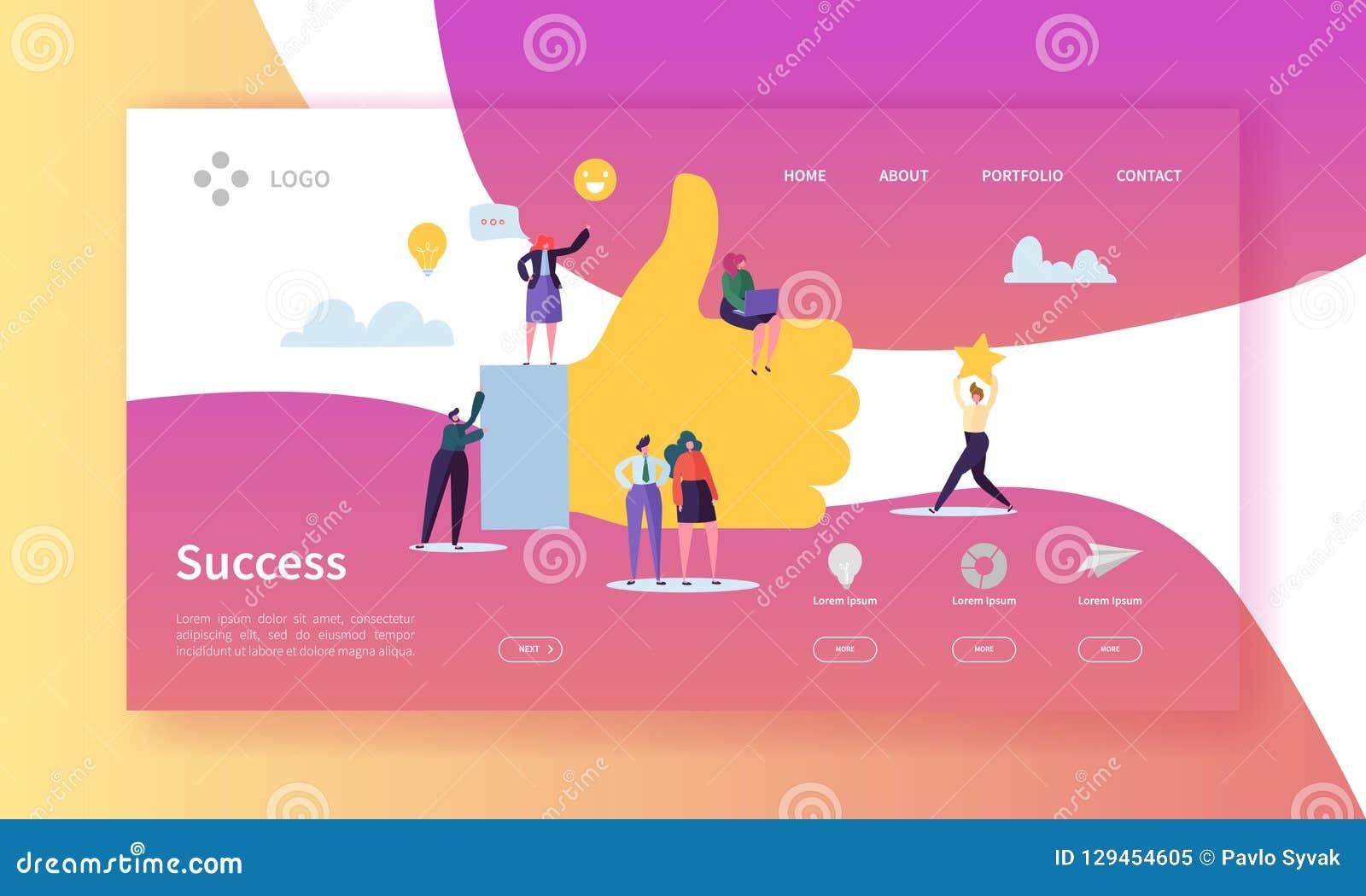 Página da aterrissagem do sucesso comercial Team Work Concept bem sucedido com caráteres lisos à procura da ideia criativa websit
