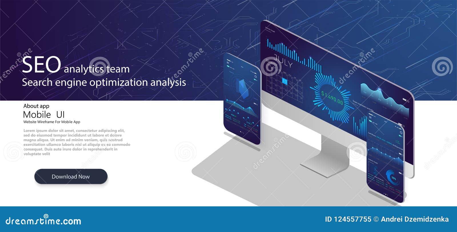 Página da aterrissagem da equipe da analítica de SEO Página da web analíticos com cartas Conceito da análise da otimização do Sea