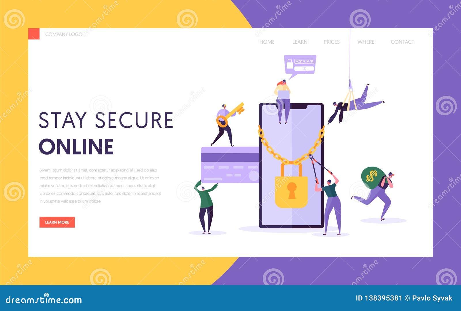 Página da aterrissagem da segurança da senha do pagamento do Internet do telefone Dados do cartão de crédito da finança do roubo