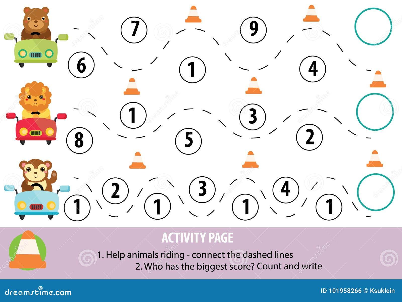 Página da atividade para crianças Prática e matemática da escrita Jogo educacional, folha imprimível para crianças