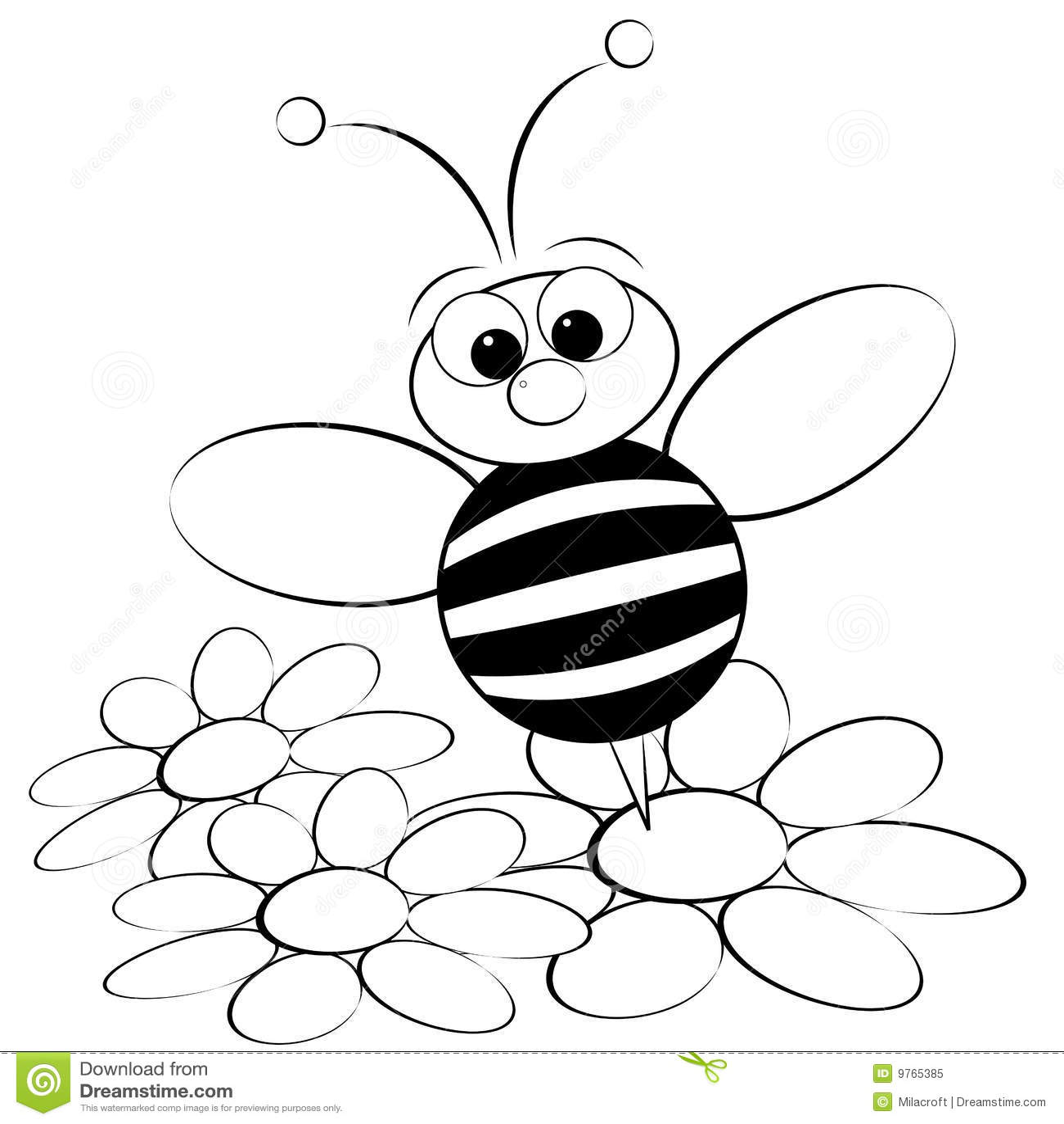 Página da coloração - abelha e margarida