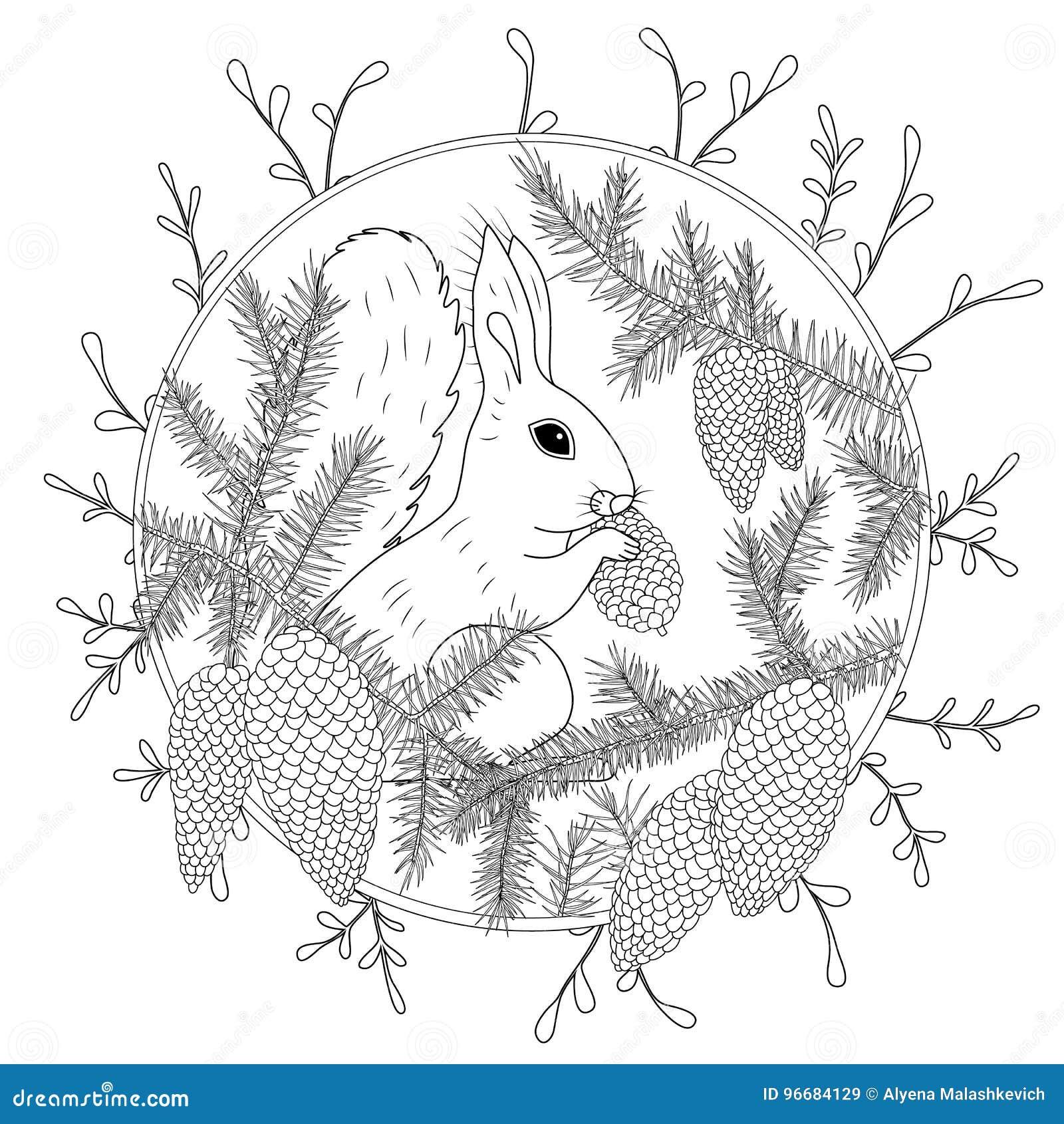 Página da coloração com os detalhes altos isolados no fundo branco Esboço do monochrome do vetor Coleção da natureza