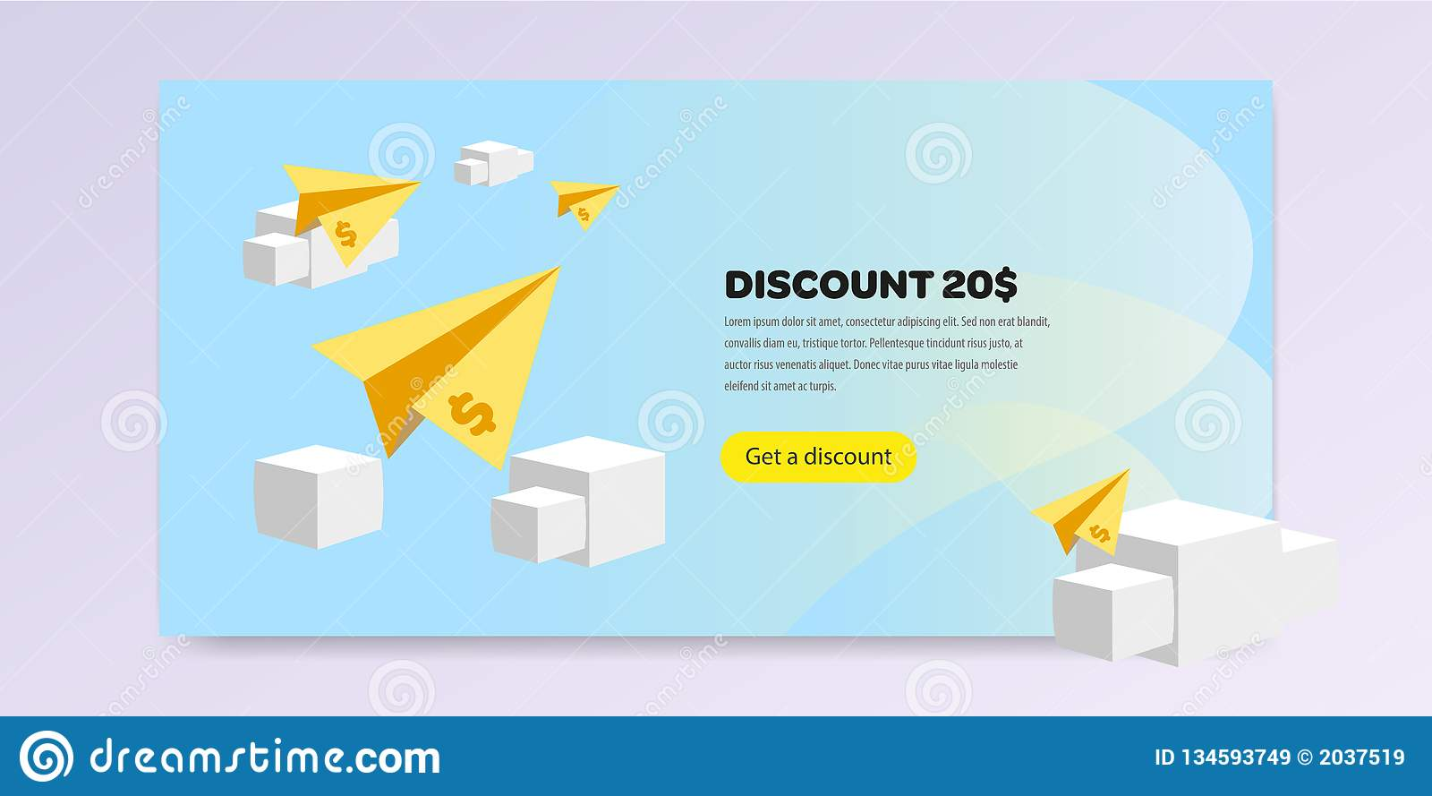 Página de aterrizaje con el ejemplo del vector de la promoción completamente