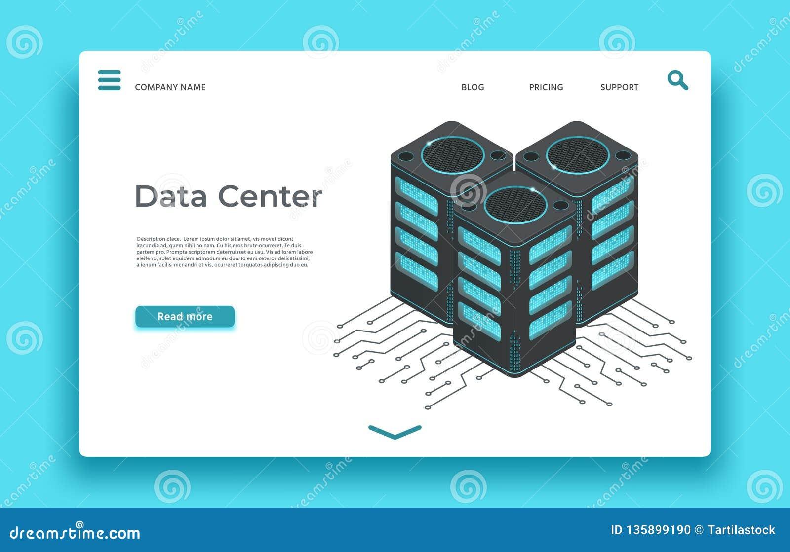 Página de aterrizaje del centro de datos Diseño isométrico del vector de los servidores