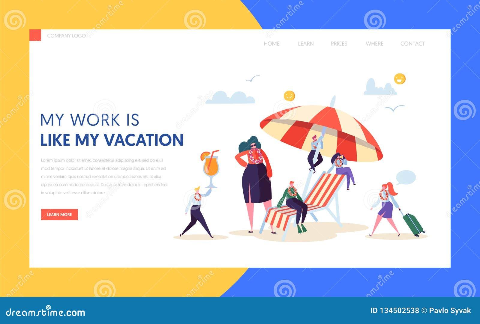 Página de aterrizaje del negocio de las vacaciones felices de los caracteres Administrador de oficinas Relax con el cóctel tropic