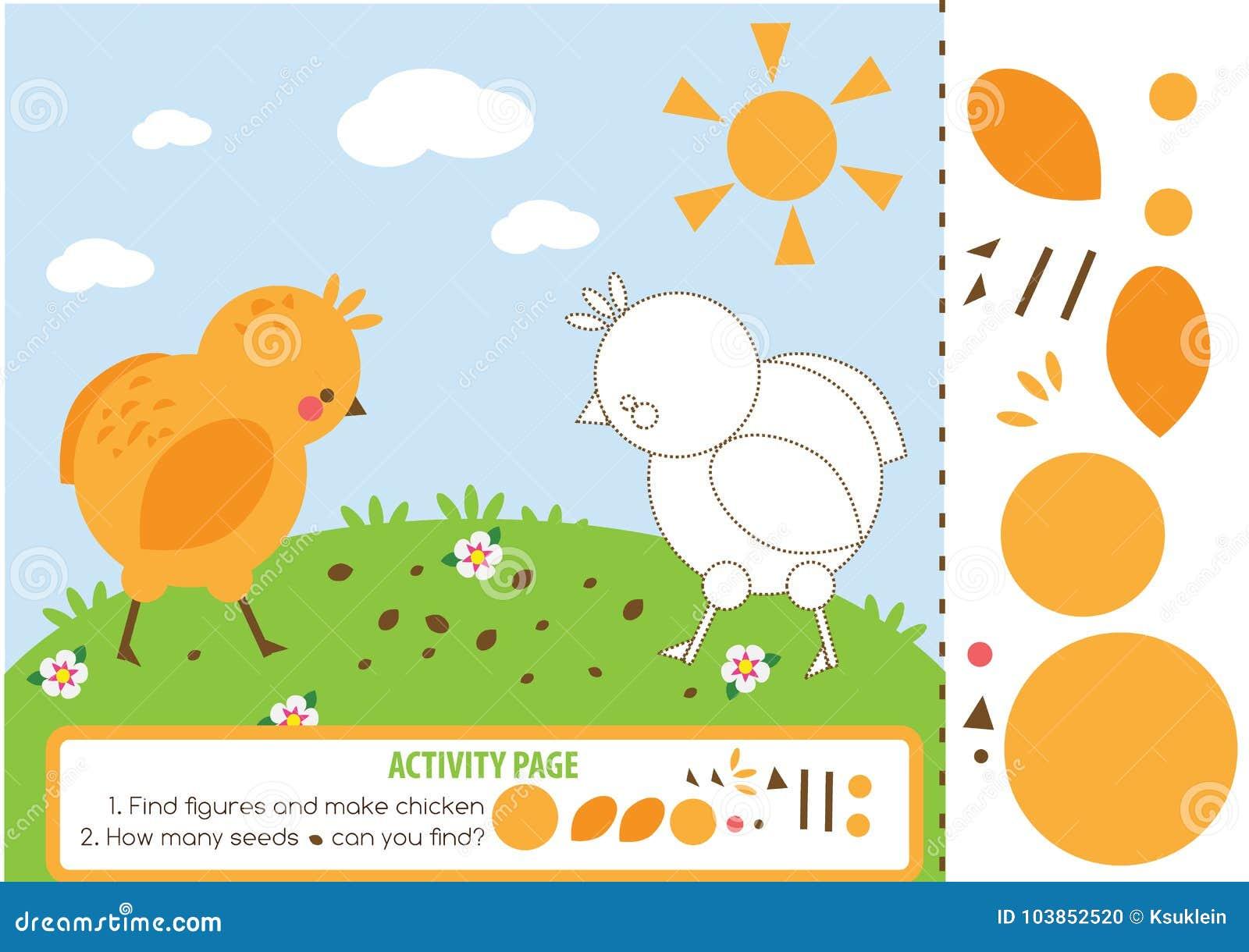 Página De La Actividad Para Los Niños Con El Pollo Juego Educativo ...
