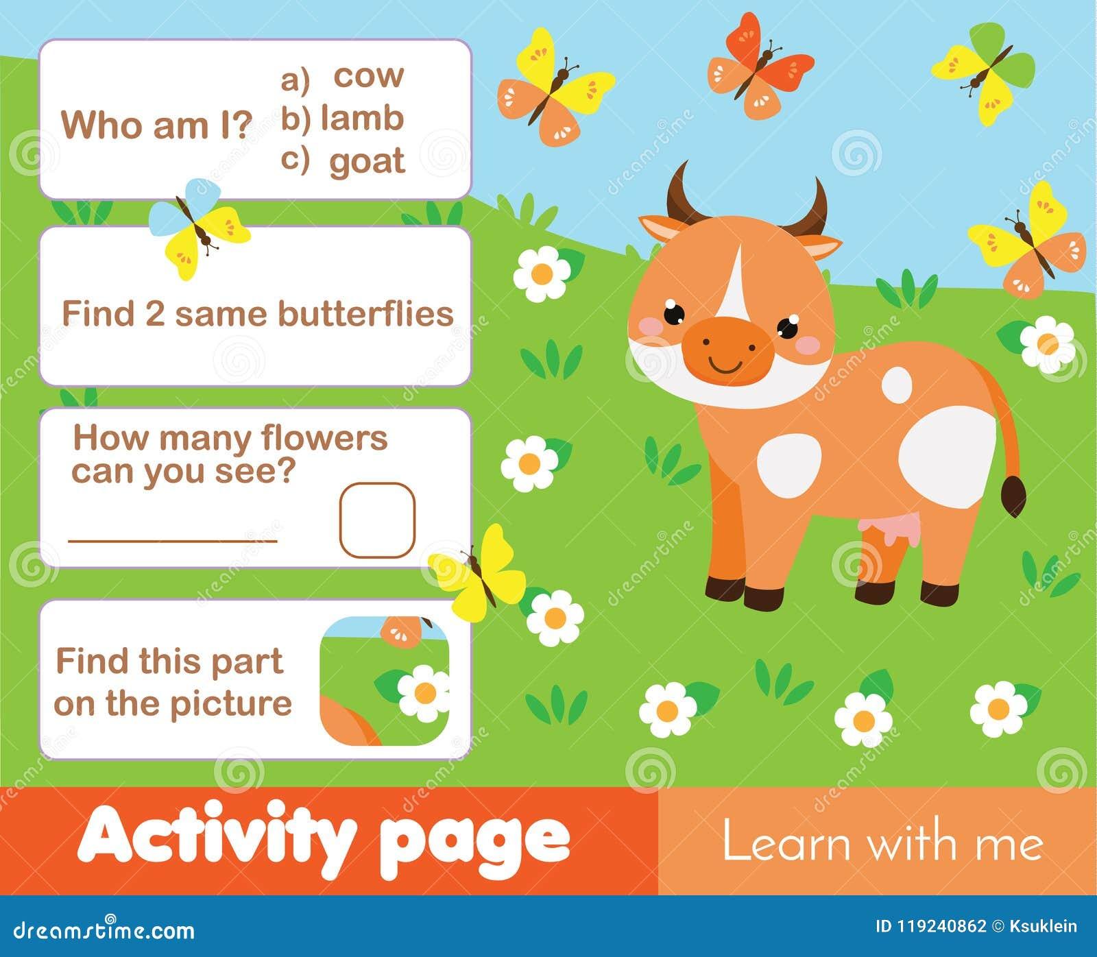 Página De La Actividad Para Los Niños Con La Vaca Tema Educativo De ...