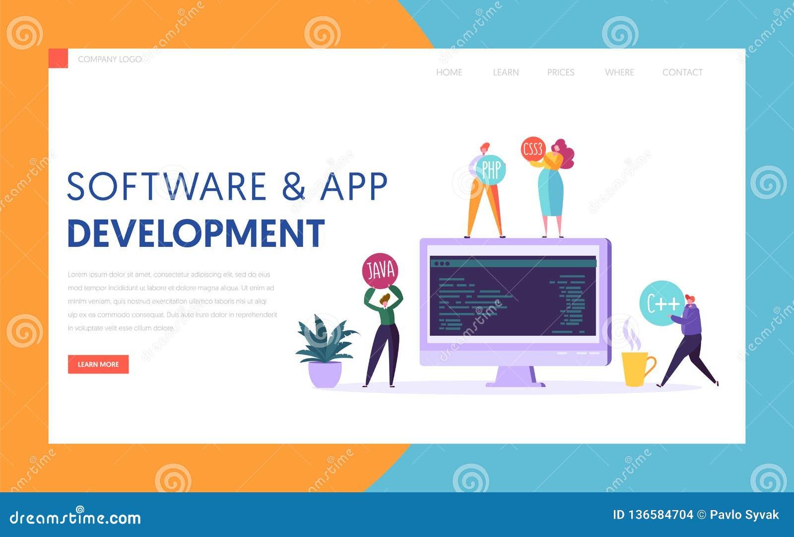 Página del aterrizaje de la agencia de la tecnología del desarrollo del App del software Monitor en la aplicación móvil profesion
