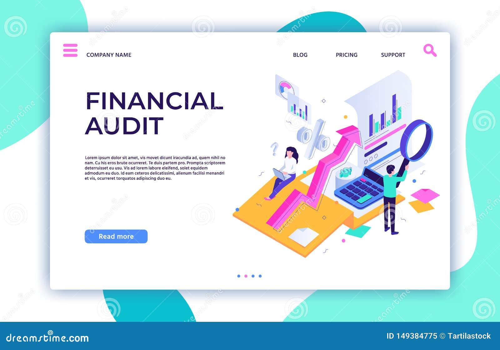 Página del aterrizaje de la auditoría financiera Gestión del impuesto, servicio del consultor de negocio y vector isométrico de l