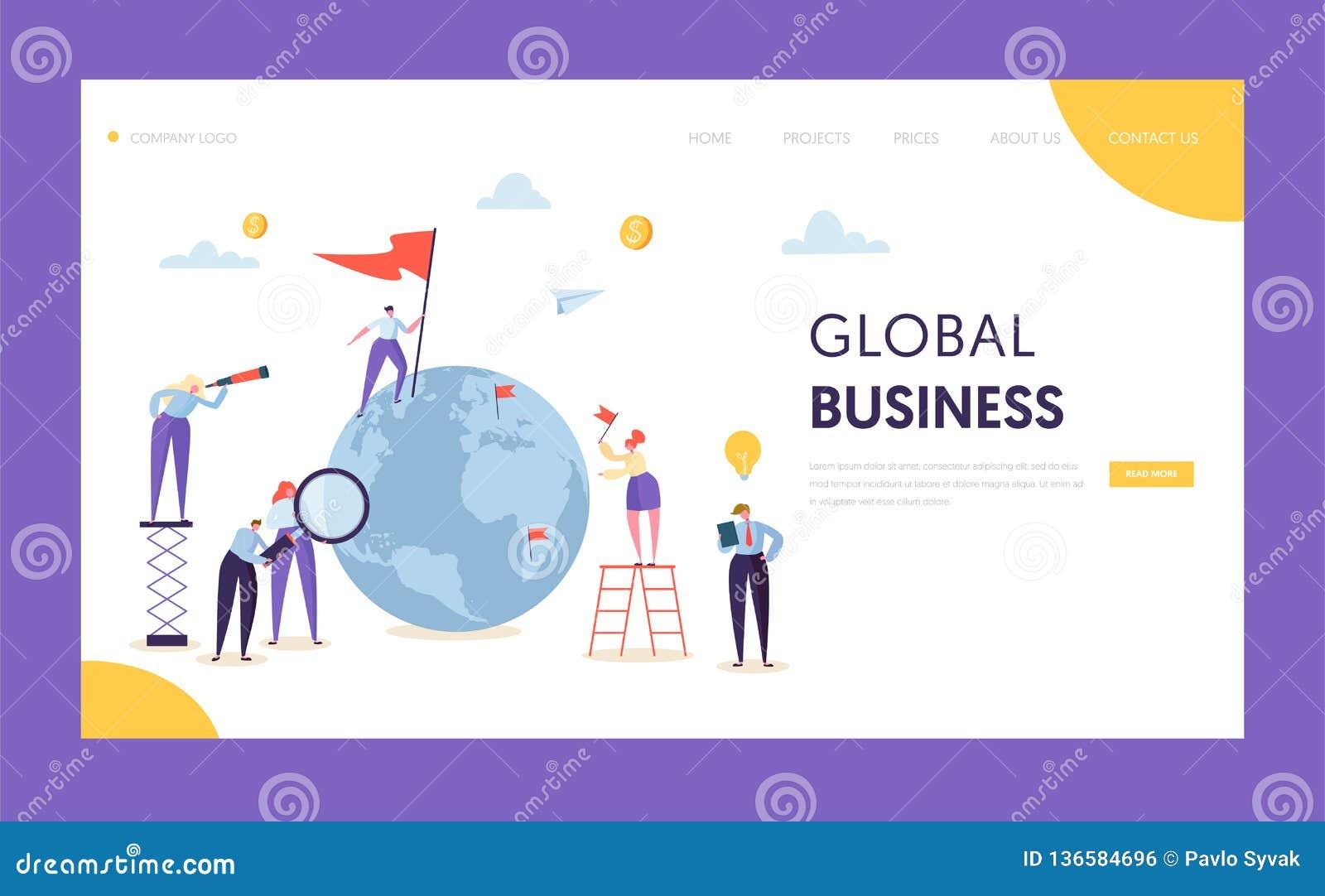 Página del aterrizaje de la bandera de la dirección del negocio global Hombre de negocios corporativo Search Partnership en globo
